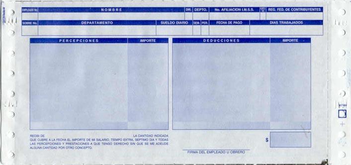 Sistemas impresos recibos de nomina en naucalpan de ju rez for Nomina en blanco para rellenar