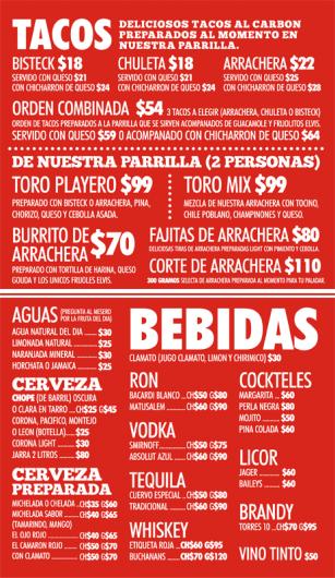 No Toro Cafe Menu