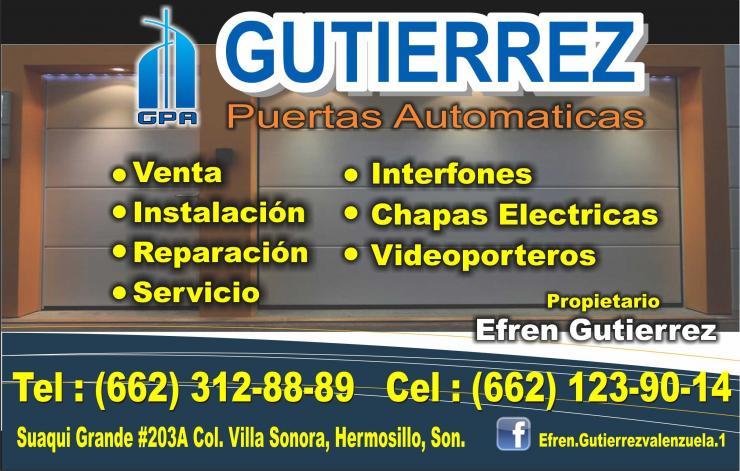 Gutierrez puertas automaticas en hermosillo tel fono y - Puertas para cocheras electricas ...