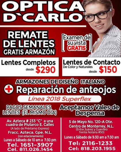 6a35dc4921 Optica d'carlo en Monterrey. Teléfono y más info.