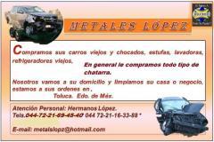Metales lópez-compra de carros chocados en Toluca  Teléfono